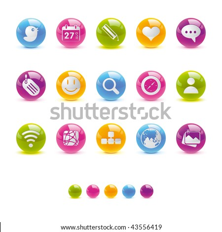 Glossy Circle Icons - Social Media in Vector Adobe Illustrator EPS 8.