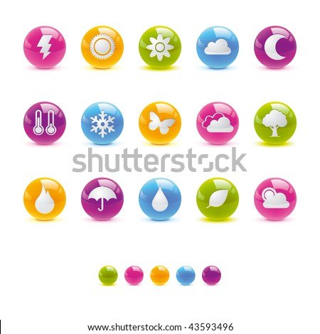 Glossy Circle Icons - Weather and Climate in Adobe Illustrator EPS 8 for multiple applicatios.