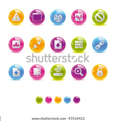 Glossy Circle Icons - Web and Internet  in Vector Adobe Illustrator EPS 8.