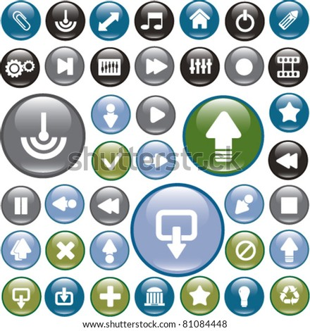 glossy circle interface buttons, icons, signs, vector illustrations