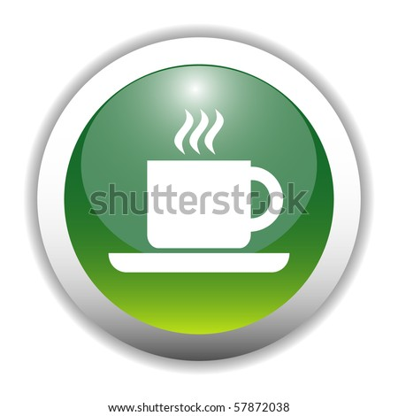 Glossy Coffee Cup Sign Button