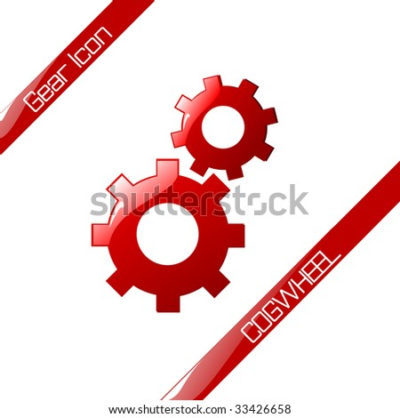 glossy cog wheels, gear icon. Vector illustration