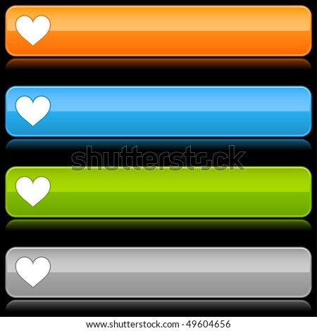 Glossy color rounded buttons with heart symbol on black