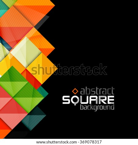stock-vector-glossy-color-squares-on-black-geometric-abstract-background