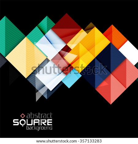 glossy color squares on black