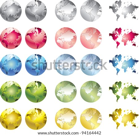 glossy colored globes icons - stock vector