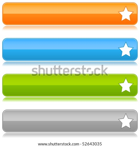 Glossy colored web buttons with star sign on white