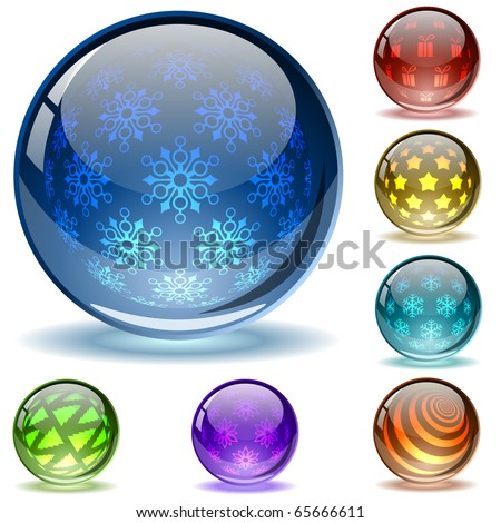 Glossy colorful abstract Christmas  globes with different inner spherical patterns.EPS10 file.