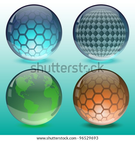 Glossy colorful abstract globes, vector