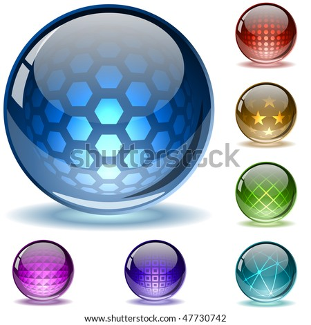 Glossy colorful abstract globes with different inner spherical patterns. EPS10 file.