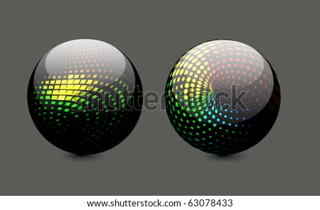 Glossy colorful abstract halftone icon design with different -different patterns.