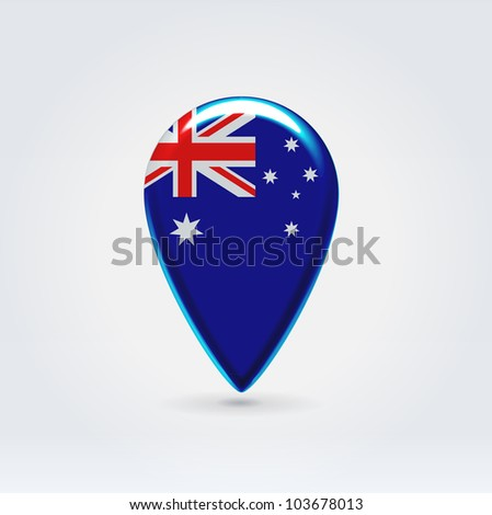 Glossy colorful Australia map application point label symbol hanging over enlightened background