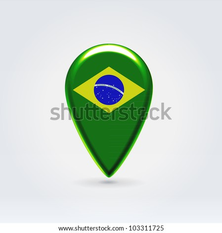 Glossy colorful Brazil map application point label symbol hanging over enlightened background