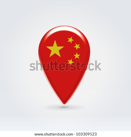 Glossy colorful China map application point label symbol hanging over enlighted background