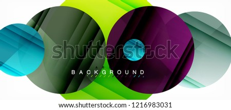 Glossy colorful circles abstract background, modern geometric design, vector #1216983031