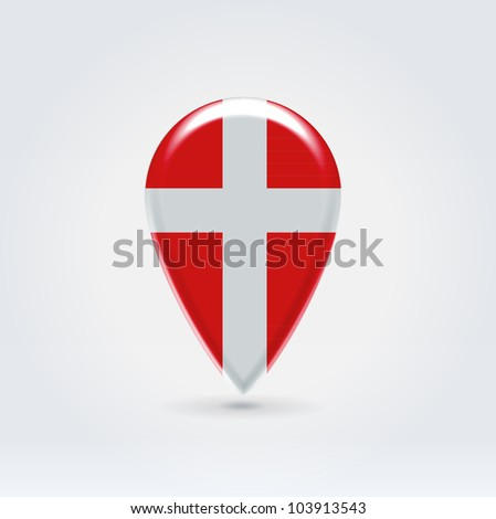 Glossy colorful Denmark map application point label symbol hanging over enlightened background