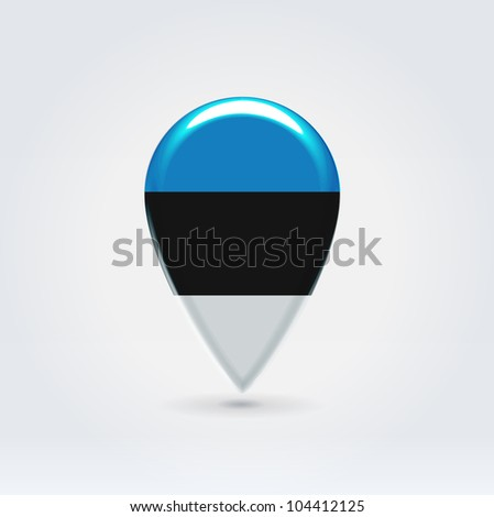 Glossy colorful Estonia map application point label symbol hanging over enlightened background