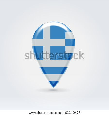 Glossy colorful Greece map application point label symbol hanging over enlightened background