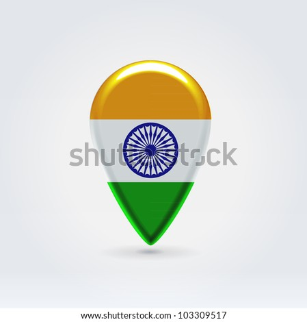 Glossy colorful India map application point label symbol hanging over enlightened background