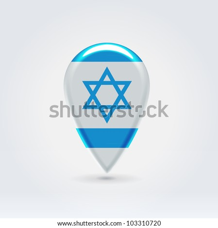 Glossy colorful Israel map application point label symbol hanging over enlightened background - stock vector