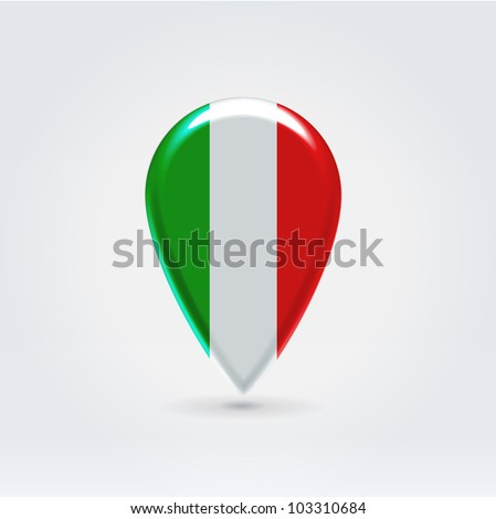 Glossy colorful Italy map application point label symbol hanging over enlightened background