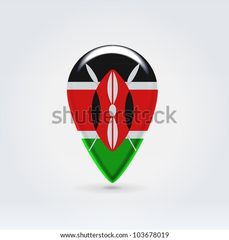 Glossy colorful Kenya map application point label symbol hanging over enlightened background