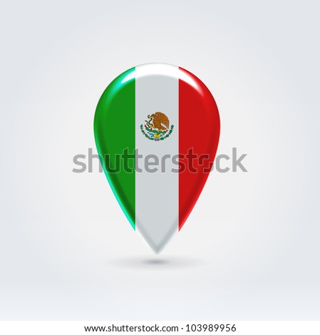 Glossy colorful Mexico map application point label symbol hanging over enlightened background