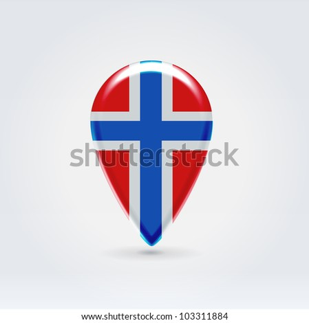 Glossy colorful Norway map application point label symbol hanging over enlightened background