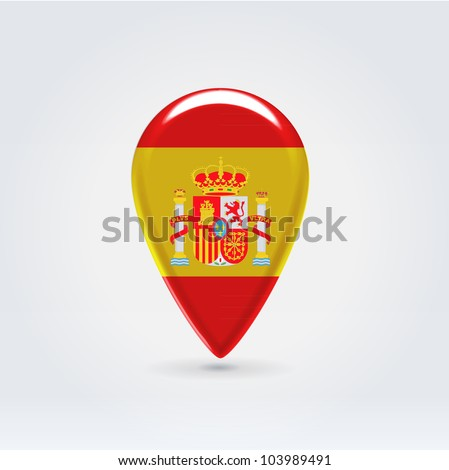 Glossy colorful Spain map application point label symbol hanging over enlightened background