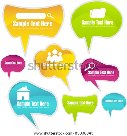 glossy colorful speech bubble vector collection - stock vector