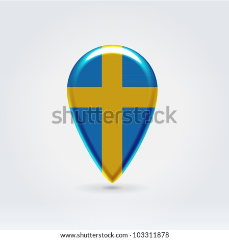 Glossy colorful Sweden map application point label symbol hanging over enlightened background