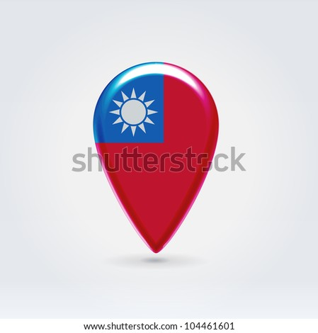 Glossy colorful Taiwan map application point label symbol hanging over enlightened background