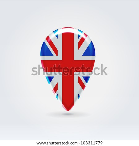 Glossy colorful UK map application point label symbol hanging over enlightened background