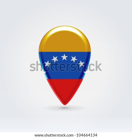 Glossy colorful Venezuela map application point label symbol hanging over enlightened background