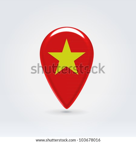 Glossy colorful Vietnam map application point label symbol hanging over enlightened background
