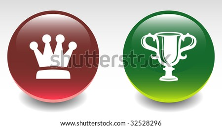 Glossy Crown & Trophy Sign Icons