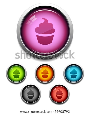 Glossy cupcake button icon set in 6 colors - stock vector