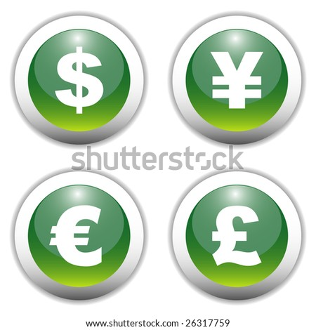 Glossy Currency Sign Buttons