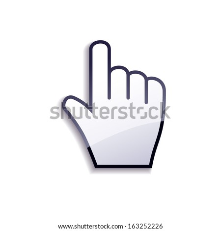 Glossy cursor hand isolated on white background.