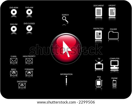 Glossy 3D icon and various other icons with reflection. Theme: Email, DVD, electronics and documents.