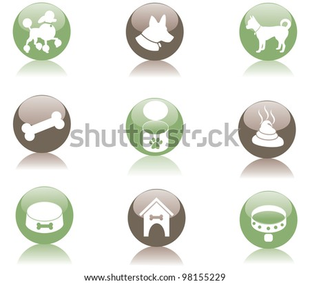 Glossy Dog Icon Symbol Set EPS 8 vector, grouped for easy editing.