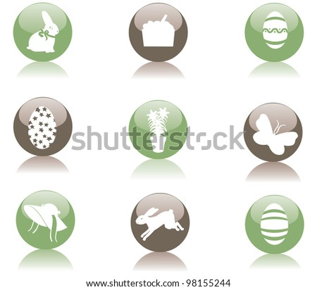 Glossy Easter Icon Symbol Set EPS 8 vector, grouped for easy editing.