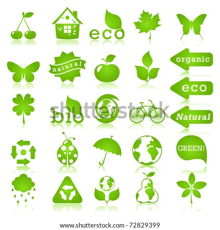 Glossy ecology icon set