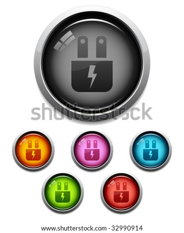 Glossy electric plug button icon set in 6 colors