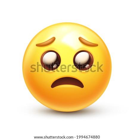 "Glossy eyes emoji. Pleading emoticon, bashful yellow face with ""puppy dog"" eyes 3D stylized vector icon Stockfoto ©"