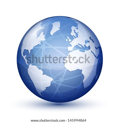 Glossy globe icon. Global communication concept. Vector illustration