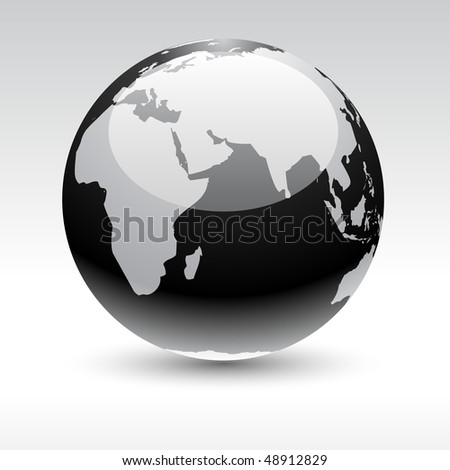 Glossy globe icon. Vector illustration.