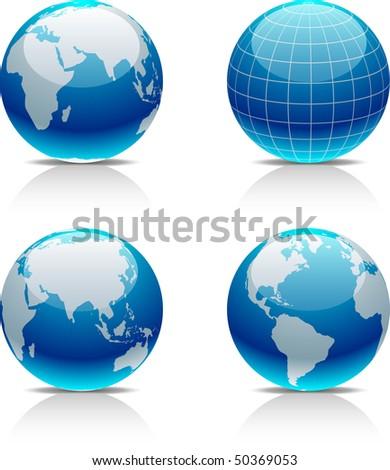 Glossy globe icons. Vector illustration.