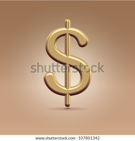 Glossy golden dollar sign hanging in the light background