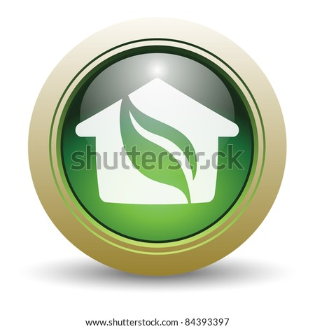 Glossy Green House Vector Illustration with Leaf and Home.